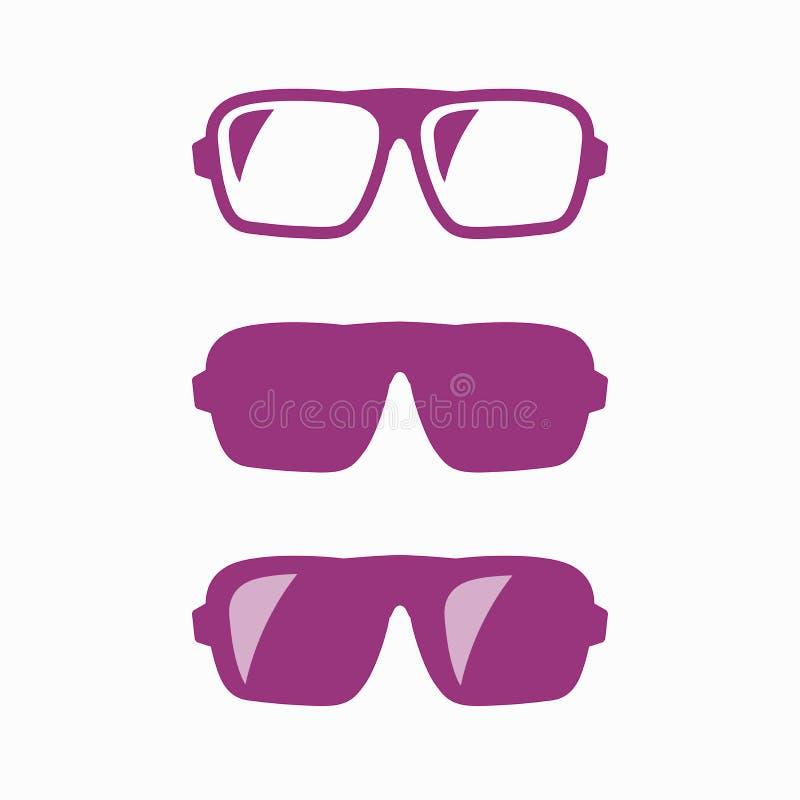 Σύνολο γυαλιών Hipster Για άνδρες και για γυναίκες γυαλιά ηλίου ελεύθερη απεικόνιση δικαιώματος