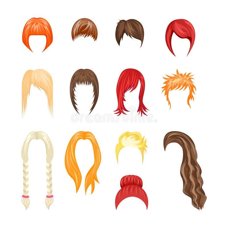 Σύνολο γυναικών Hairstyles κινούμενων σχεδίων διάνυσμα ελεύθερη απεικόνιση δικαιώματος