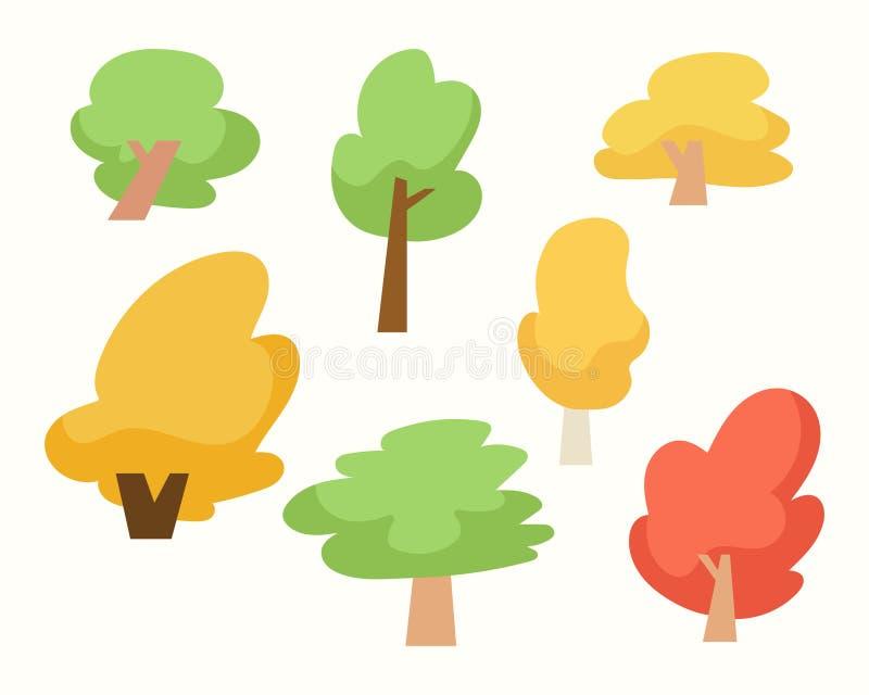 Σύνολο δέντρων, απομονωμένα δέντρα κινούμενων σχεδίων στο άσπρο υπόβαθρο διανυσματική απεικόνιση