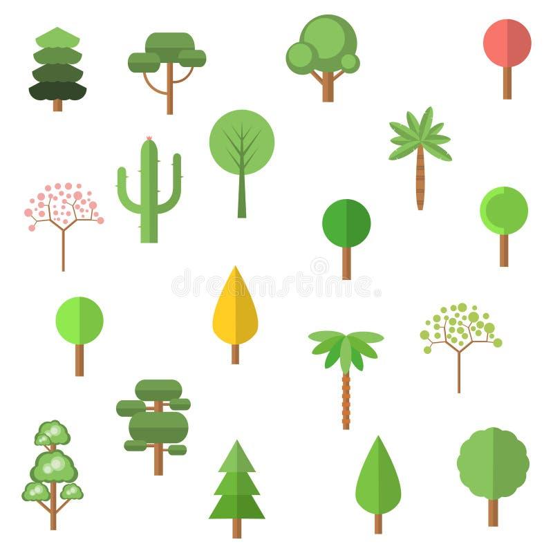Σύνολο 16 δέντρων κινούμενων σχεδίων διανυσματική απεικόνιση
