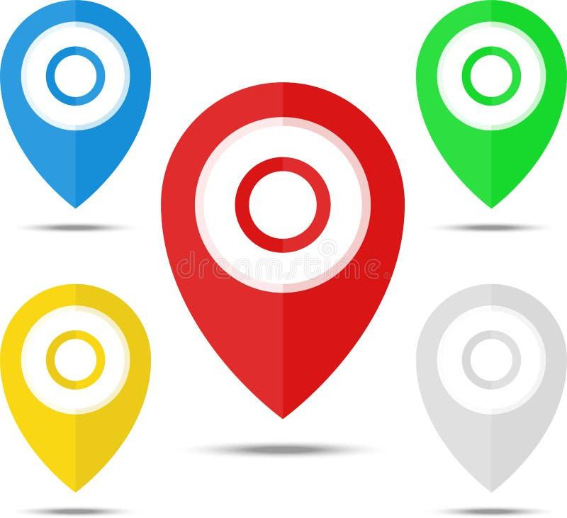 Σύνολο δεικτών χαρτών, καρφίτσες χαρτών, στοιχεία δεικτών 5 χρώματα, πορτοκάλι, μπλε, πράσινος, κόκκινος, άσπρο Θέση, διεύθυνση,  ελεύθερη απεικόνιση δικαιώματος
