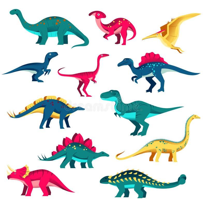 Σύνολο δεινοσαύρων Διανυσματική ζωηρόχρωμη επίπεδη απεικόνιση Χαριτωμένη συλλογή του Dino, στοιχεία σχεδίου παιδιών που απομονώνο διανυσματική απεικόνιση