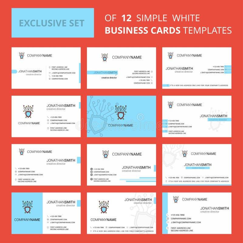 Σύνολο δημιουργικού προτύπου καρτών Busienss ασφάλειας 12 Cyber Δημιουργικά λογότυπο Editable και υπόβαθρο καρτών επίσκεψης ελεύθερη απεικόνιση δικαιώματος