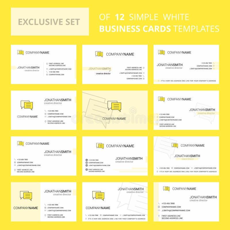 Σύνολο δημιουργικού προτύπου καρτών Busienss φυσαλίδων συνομιλίας 12 Δημιουργικά λογότυπο Editable και υπόβαθρο καρτών επίσκεψης απεικόνιση αποθεμάτων