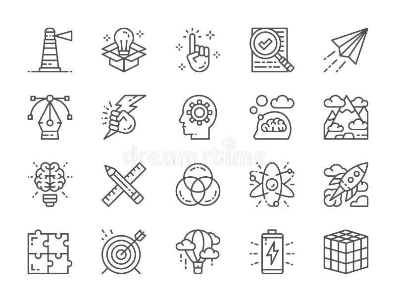 Σύνολο δημιουργικών εικονιδίων γραμμών Πίνακας ελέγχου, αεροπλάνο εγγράφου, καινοτομία, μπαταρία και περισσότεροι απεικόνιση αποθεμάτων