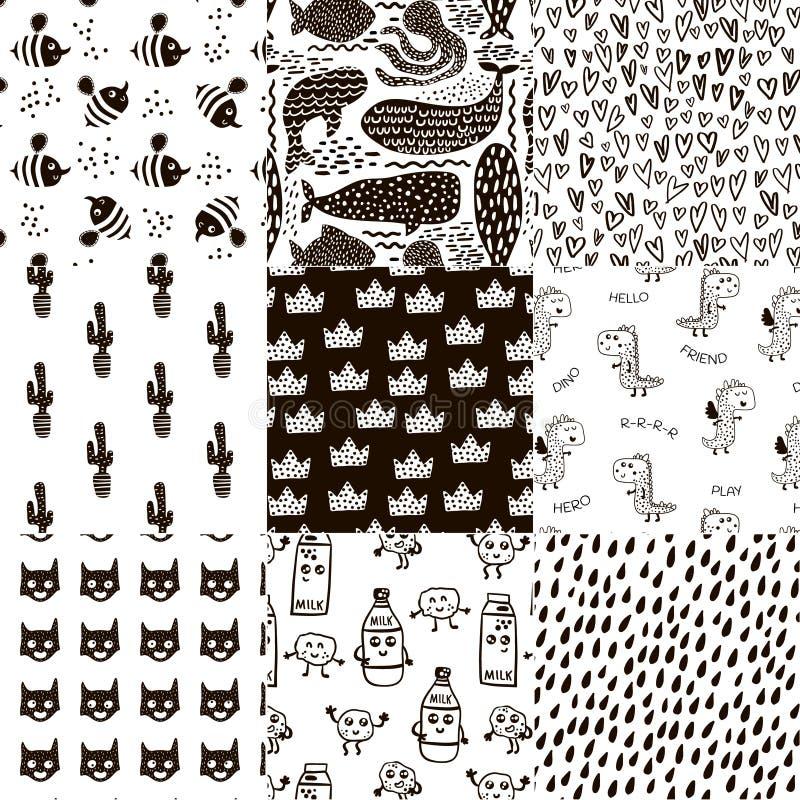 Σύνολο 8 δημιουργικών Σκανδιναβικών παιδαριωδών σχεδίων ύφους Όλα τα δείγματα είναι swatches στην επιτροπή διάνυσμα κατσικιών ανα διανυσματική απεικόνιση