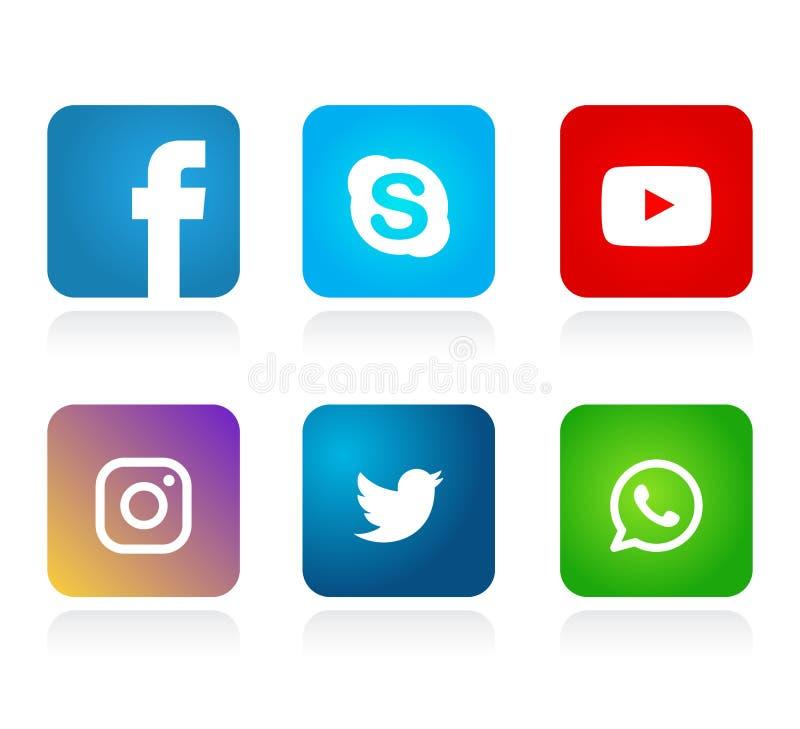 Σύνολο δημοφιλών κοινωνικών εικονιδίων λογότυπων μέσων, διάνυσμα στοιχείων Youtube WhatsApp πειραχτηριών Instagram Facebook απεικόνιση αποθεμάτων