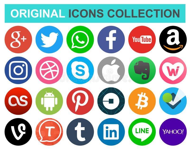 Σύνολο δημοφιλών κοινωνικών μέσων κύκλων και άλλων εικονιδίων ελεύθερη απεικόνιση δικαιώματος