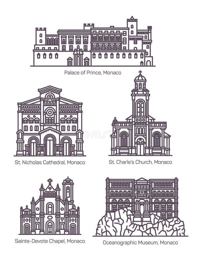 Σύνολο διάσημης αρχιτεκτονικής του Μονακό στη λεπτή γραμμή διανυσματική απεικόνιση