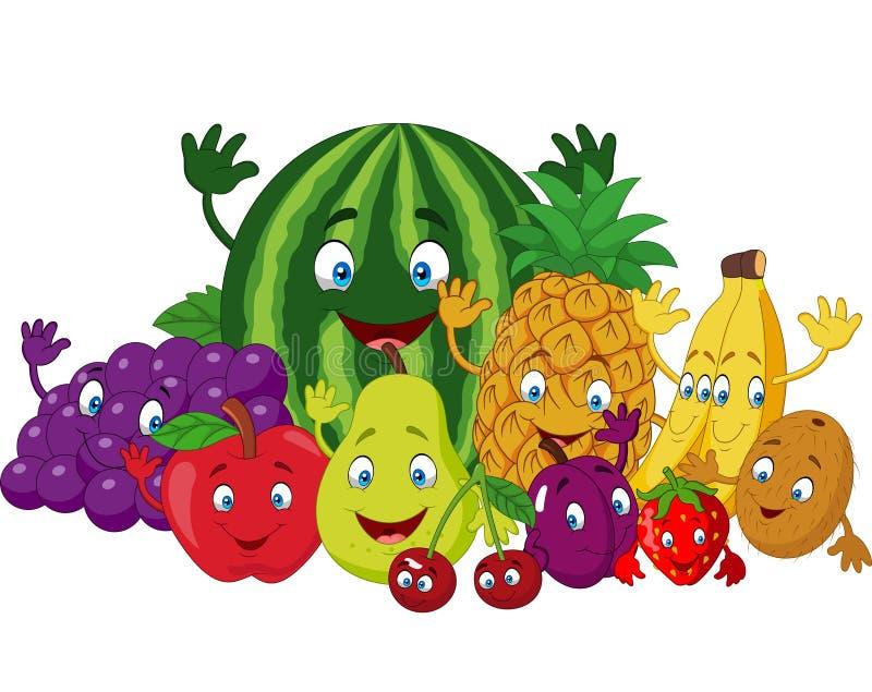 Σύνολο διάφορων αστείων φρούτων κινούμενων σχεδίων διανυσματική απεικόνιση