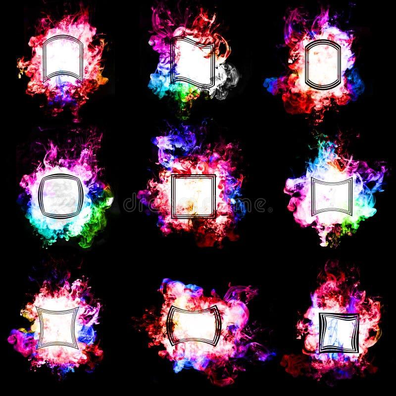 Σύνολο διάφορων ετικετών στη φλόγα χρώματος με τα γεωμετρικά στοιχεία μέσα, στο άσπρο υπόβαθρο ελεύθερη απεικόνιση δικαιώματος