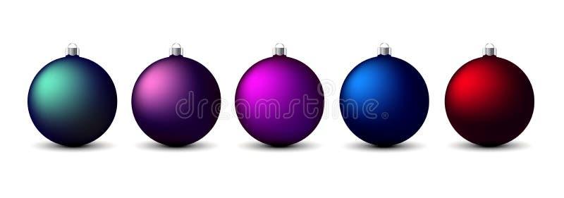 Σύνολο διάφορων ζωηρόχρωμων σφαιρών Χριστουγέννων Συλλογή διακοσμήσεων Χριστουγέννων διανυσματική απεικόνιση