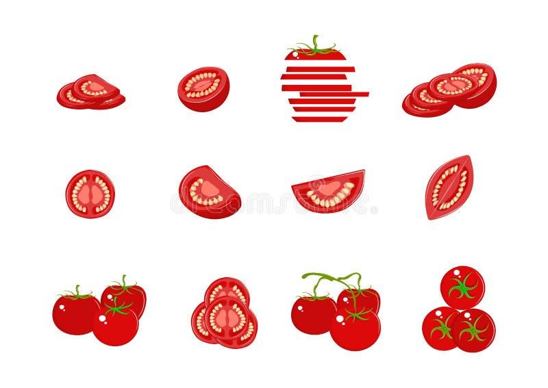 Σύνολο διάφορων ντοματών που απομονώνεται στο άσπρο υπόβαθρο Ολόκληρος, τεμαχισμένος, τέταρτο, μισά φρούτα ντοματών r απεικόνιση αποθεμάτων