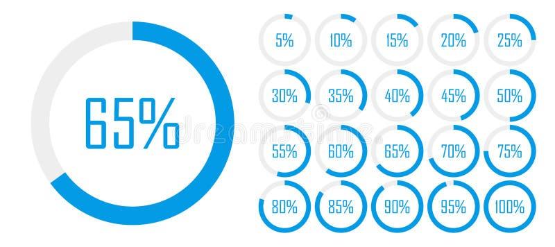 Σύνολο διαγραμμάτων ποσοστού κύκλων από 0 έως 100 για το σχέδιο Ιστού, διεπαφή χρηστών UI ή infographic - δείκτης με το μπλε χρώμ διανυσματική απεικόνιση