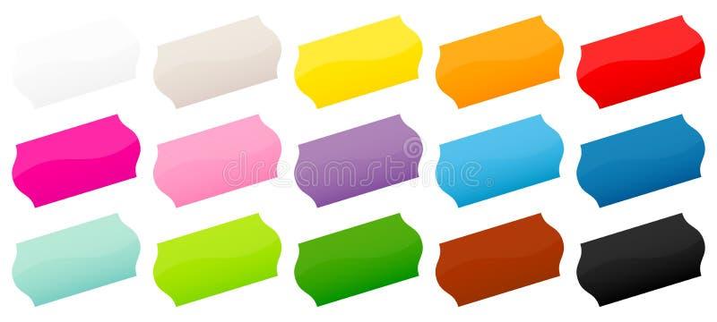 Σύνολο διαγώνιοσς αυτοκόλλητων ετικεττών δεκαπέντε ζωηρόχρωμης τιμών διανυσματική απεικόνιση