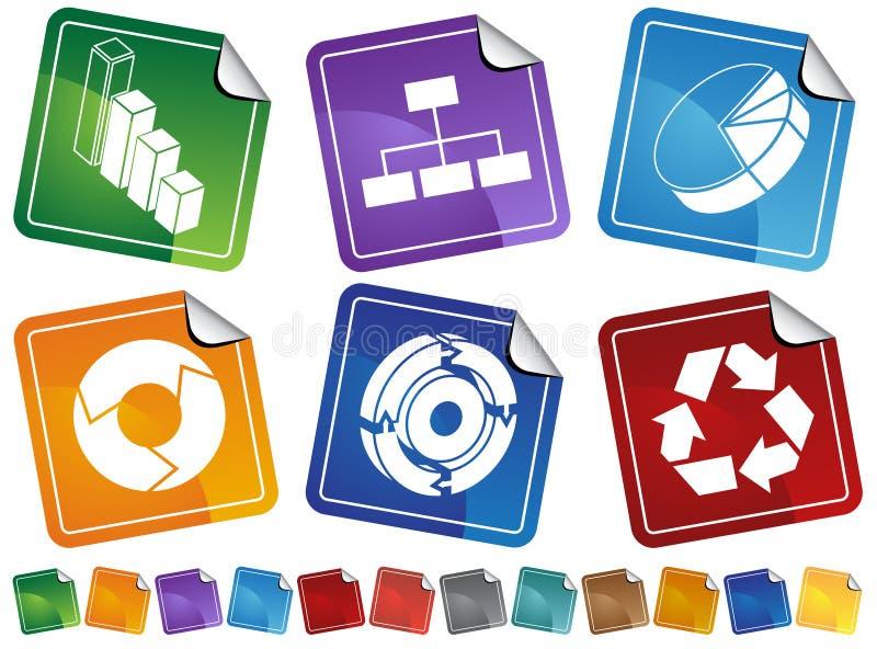 σύνολο διαδικασίας διαγραμμάτων επιχειρησιακών κουμπιών διανυσματική απεικόνιση