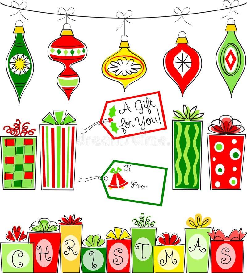 Σύνολο διακοσμήσεων και δώρων Χριστουγέννων διανυσματική απεικόνιση