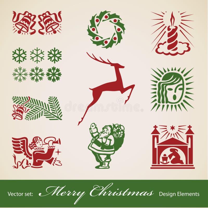 Σύνολο διακοσμήσεων Χριστουγέννων ελεύθερη απεικόνιση δικαιώματος