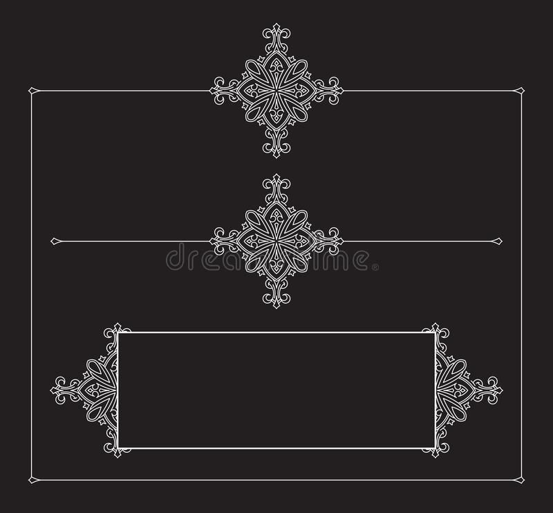 Σύνολο διακοσμητικών εκλεκτής ποιότητας διανυσματικών πλαισίων σε ένα μαύρο υπόβαθρο ελεύθερη απεικόνιση δικαιώματος