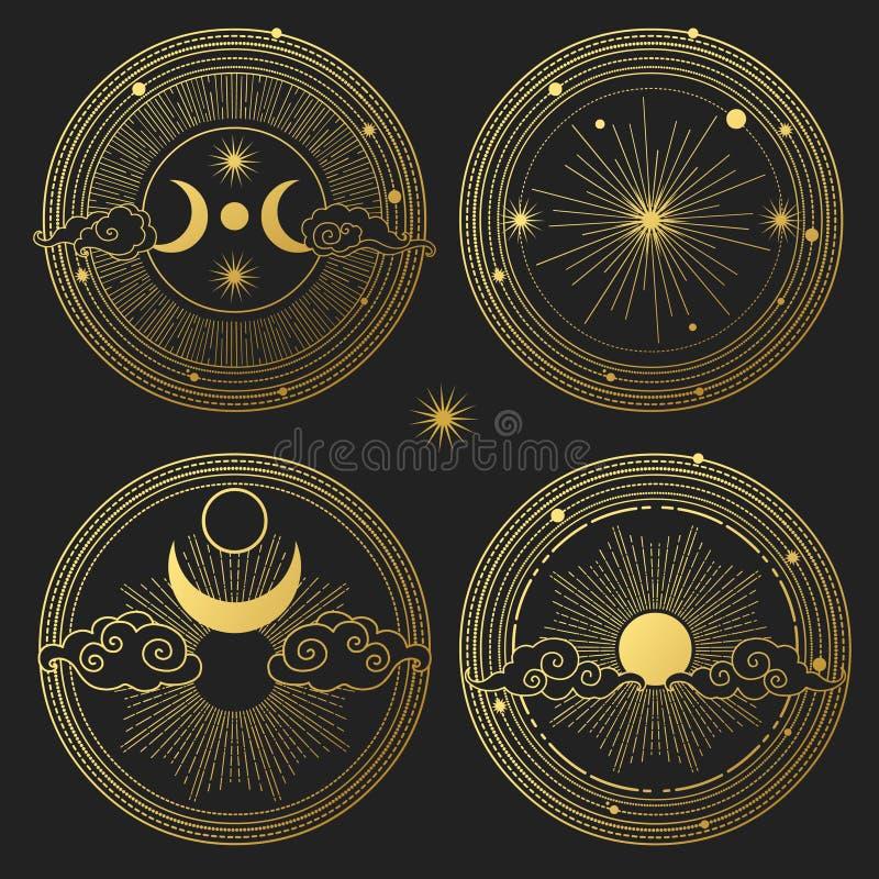 Σύνολο διακοσμητικών στοιχείων σχεδίου Φεγγάρι, ήλιος, πλανήτες και αστέρια Διανυσματικά πρότυπα απεικόνιση αποθεμάτων