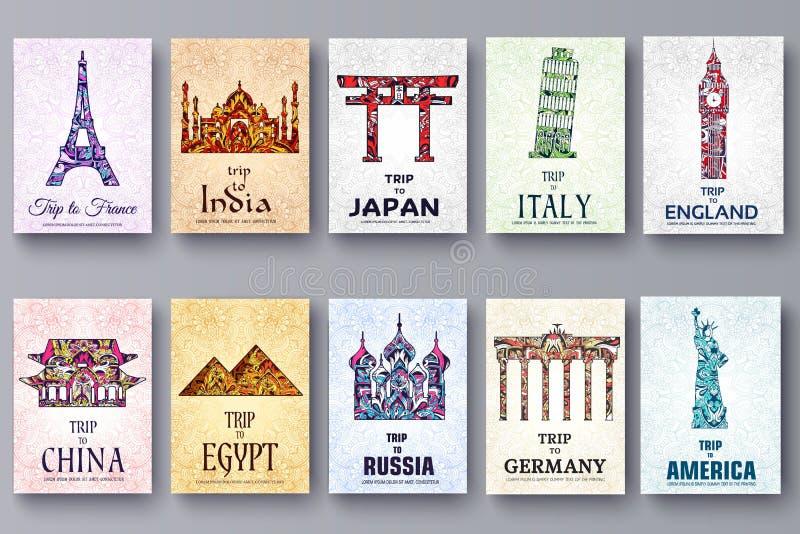 Σύνολο διακοσμητικών ταξιδιού και αρχιτεκτονικής τέχνης στα εθνικά floral ιπτάμενα ύφους Διανυσματική διακοσμητική κάρτα ιστορικό διανυσματική απεικόνιση