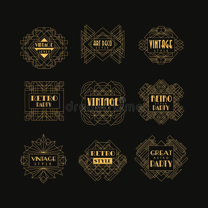 Σύνολο διακριτικών του Art Deco Διακοσμητικά χρυσά πλαίσια στο εκλεκτής ποιότητας ύφος Γραμμικά εμβλήματα πολυτέλειας Διανυσματικ ελεύθερη απεικόνιση δικαιώματος