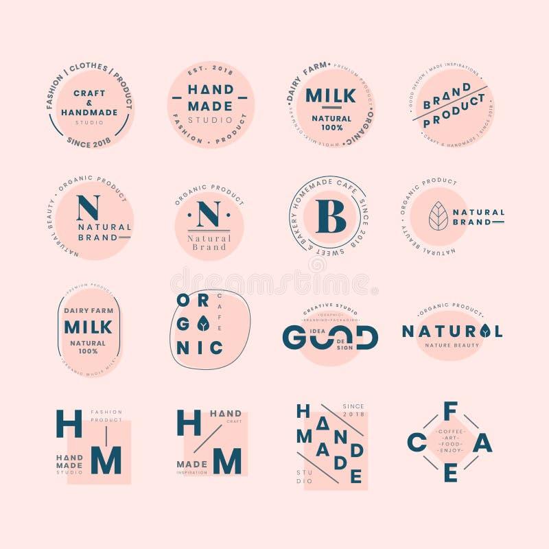Σύνολο διανυσμάτων σχεδίου διακριτικών λογότυπων διανυσματική απεικόνιση