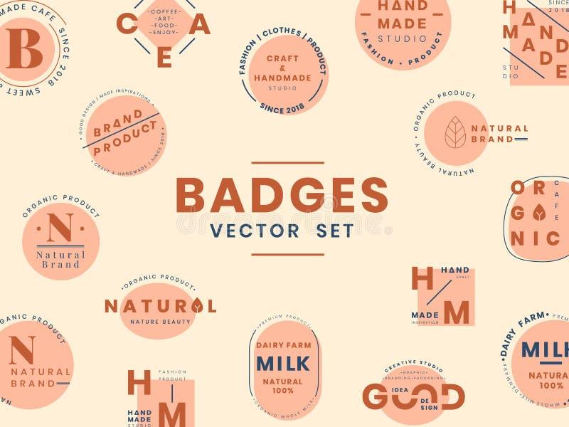 Σύνολο διανυσμάτων σχεδίου διακριτικών λογότυπων απεικόνιση αποθεμάτων