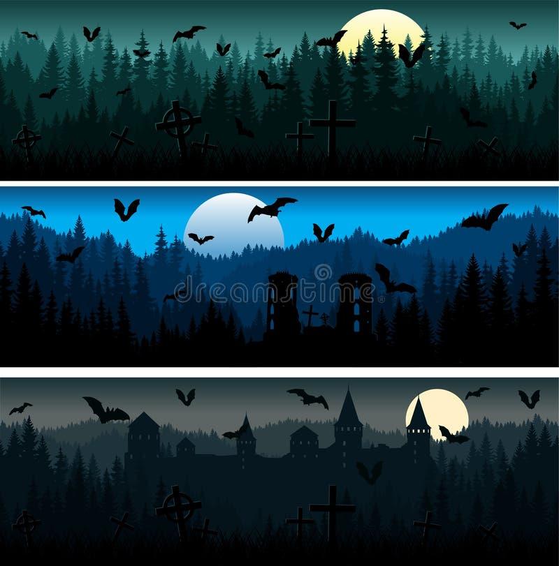 Σύνολο διανυσμάτων Τρομακτικά βουνά του Χάλογουιν, υφή δάσους αρμονικό μοτίβο με δασική γη, κάστρα και νυχτερίδες απεικόνιση αποθεμάτων