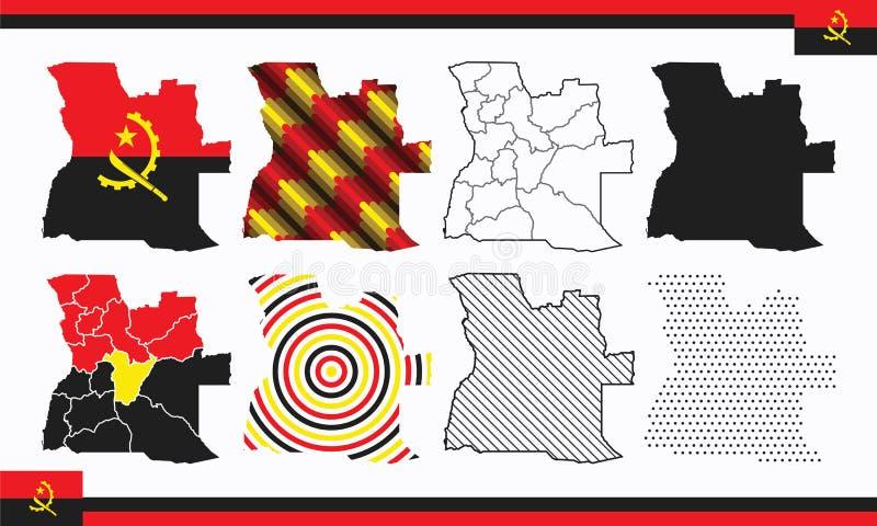 Σύνολο διανυσμάτων χάρτη Αγκόλας στοκ εικόνες