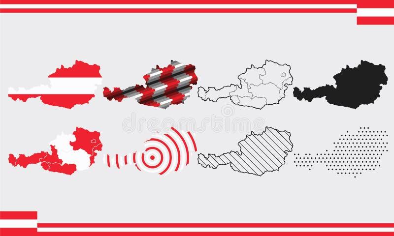 Σύνολο διανυσμάτων χάρτη Αυστρίας στοκ εικόνες με δικαίωμα ελεύθερης χρήσης