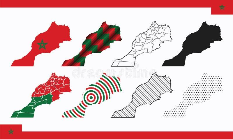 Σύνολο διανυσμάτων χάρτη Μαρόκου στοκ εικόνες με δικαίωμα ελεύθερης χρήσης