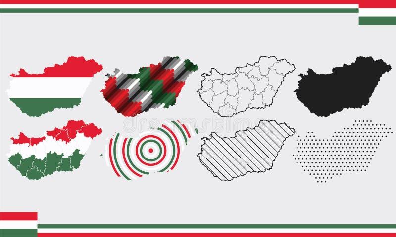 Σύνολο διανυσμάτων χάρτη Ουγγαρίας στοκ φωτογραφία