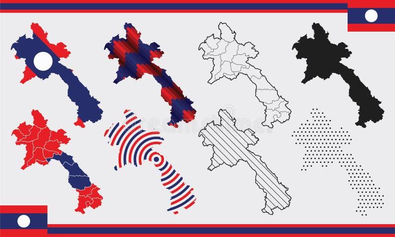 Σύνολο διανυσμάτων χάρτη του Λάος στοκ φωτογραφίες