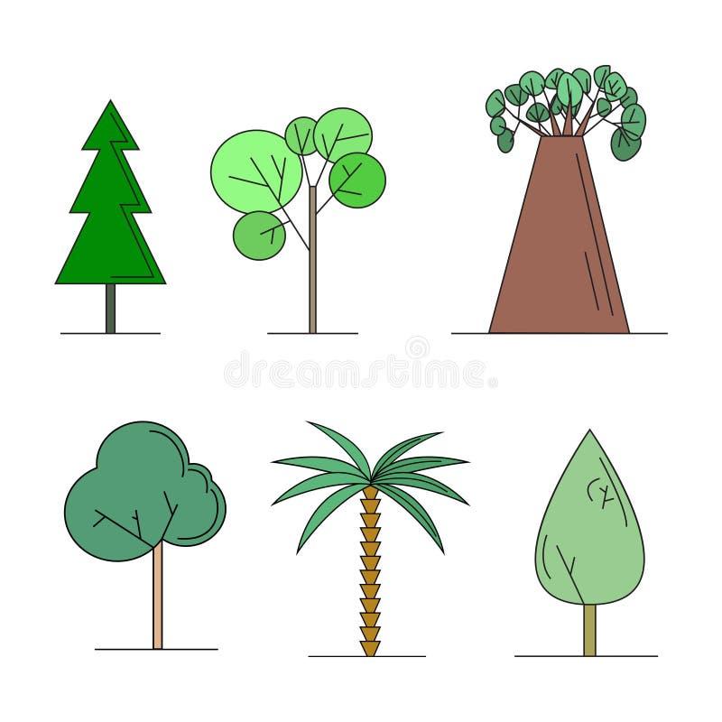 Σύνολο διανυσματικής απεικόνισης δέντρων απεικόνιση αποθεμάτων