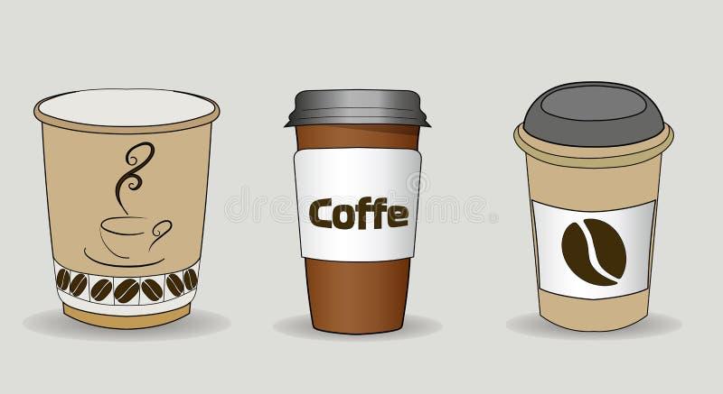 Σύνολο διανυσματικής απεικόνισης των φλυτζανιών καφέ με το μανίκι χαρτονιού Πλήρες φλιτζάνι του καφέ, latte, espresso, ή cappucci απεικόνιση αποθεμάτων
