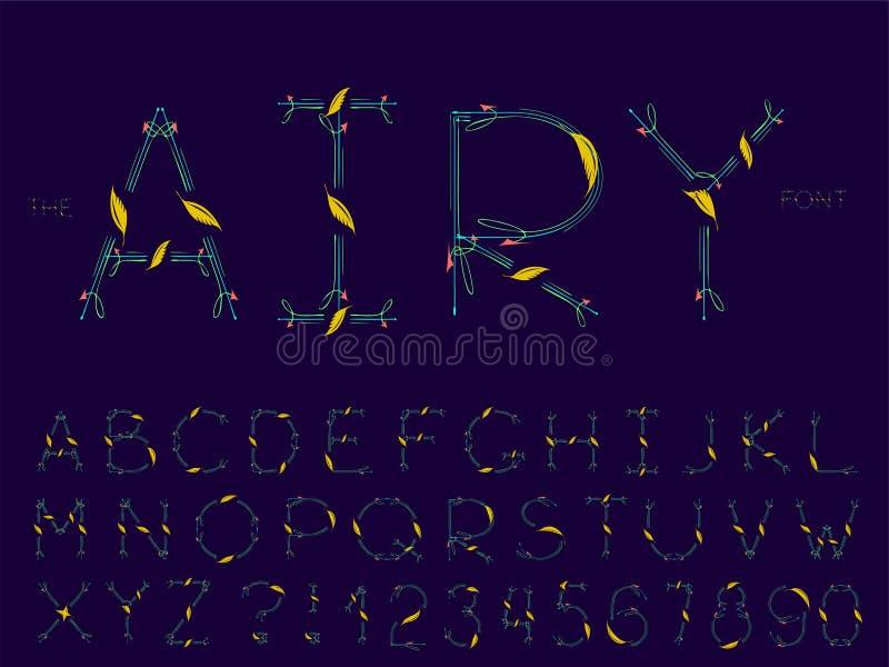 Σύνολο διανυσματικής αφηρημένης πηγής και αλφάβητου ελεύθερη απεικόνιση δικαιώματος