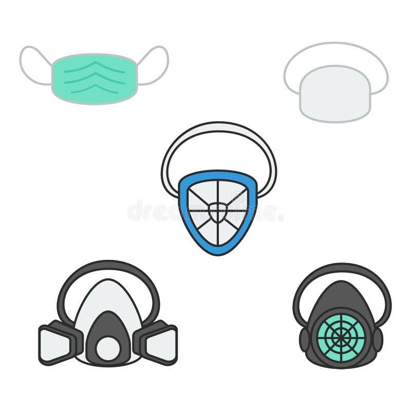 Σύνολο διανυσματικής μάσκας και αναπνευστικής συσκευής ασφάλειας απεικόνισης ελεύθερη απεικόνιση δικαιώματος
