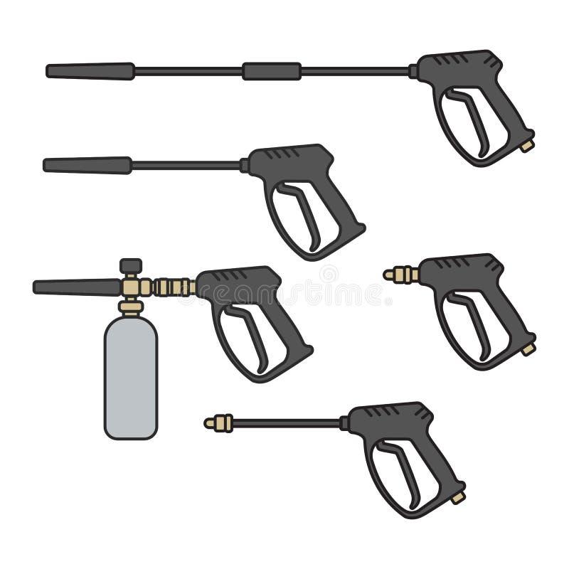 Σύνολο διανυσματικής μηχανής πλυντηρίων πίεσης απεικόνισης ηλεκτρικής με το πυροβόλο όπλο ψεκασμού διανυσματική απεικόνιση