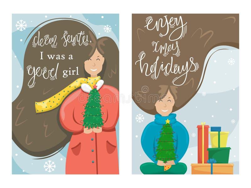 Σύνολο διανυσματικής Χαρούμενα Χριστούγεννας και ευχετήριας κάρτας καλής χρονιάς ελεύθερη απεικόνιση δικαιώματος