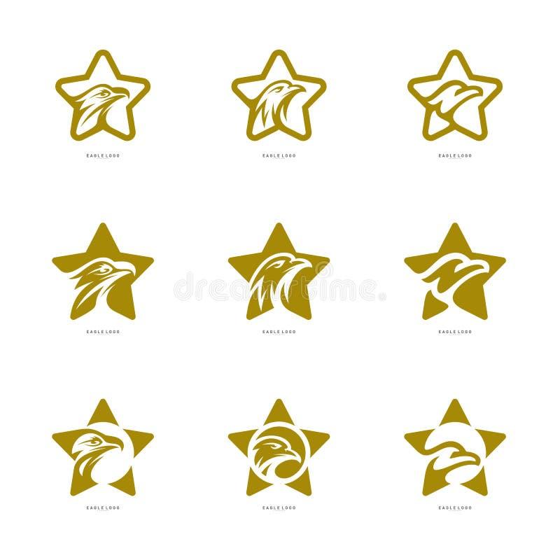 Σύνολο διανυσματικού προτύπου λογότυπων αετών αστεριών Λογότυπο αετών με το εικονίδιο αστεριών ελεύθερη απεικόνιση δικαιώματος