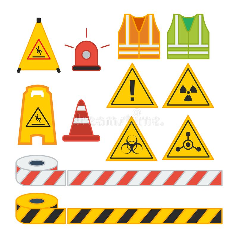 Σύνολο διανυσματικού σημαδιού προσοχής απεικόνισης για τον εξοπλισμό ασφάλειας διανυσματική απεικόνιση
