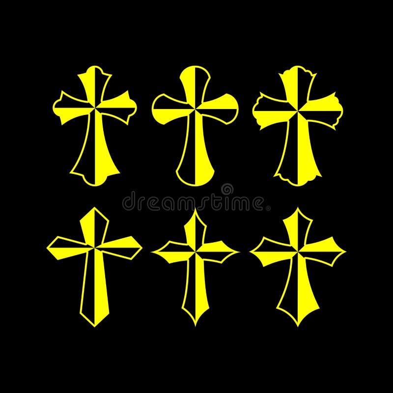 Σύνολο διανυσματικού σταυρού, συλλογή των στοιχείων σχεδίου για τη δημιουργία των λογότυπων ελεύθερη απεικόνιση δικαιώματος