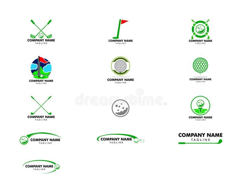 Σύνολο διανυσματικού σχεδίου εικονιδίων απεικόνισης προτύπων λογότυπων γκολφ διανυσματική απεικόνιση