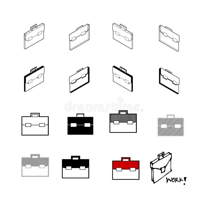 Σύνολο διανυσματικού σύγχρονου διανύσματος συλλογής Εικονίδιο επιχειρησιακών τσαντών πολυ απεικόνιση αποθεμάτων