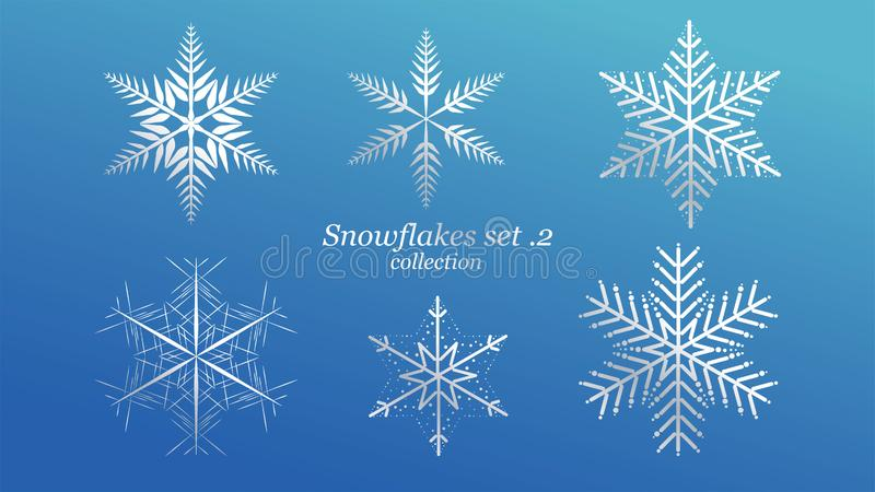 Σύνολο διανυσματικού Snowflakes σχεδίου Χριστουγέννων με το μπλε χρώμα πολυτέλειας πάγου στο μπλε υπόβαθρο Στοιχείο κρυστάλλου νι διανυσματική απεικόνιση