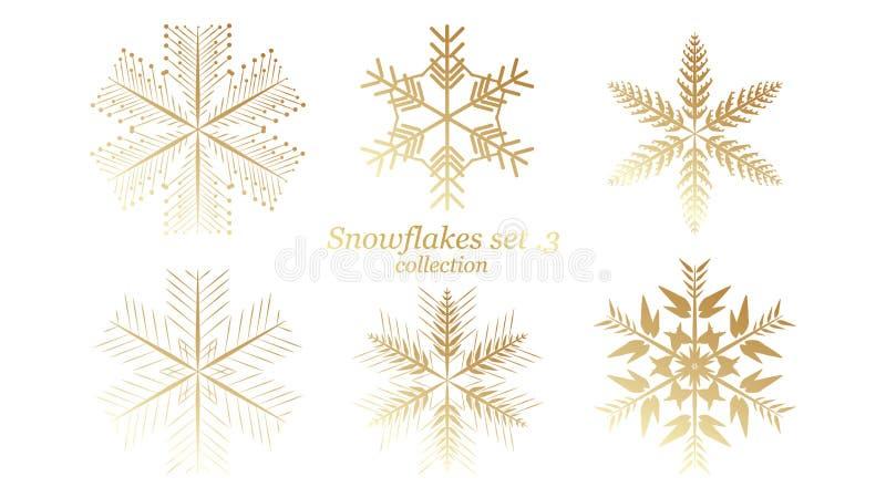 Σύνολο διανυσματικού Snowflakes σχεδίου Χριστουγέννων με το χρυσό χρώμα πολυτέλειας στο άσπρο υπόβαθρο απεικόνιση αποθεμάτων