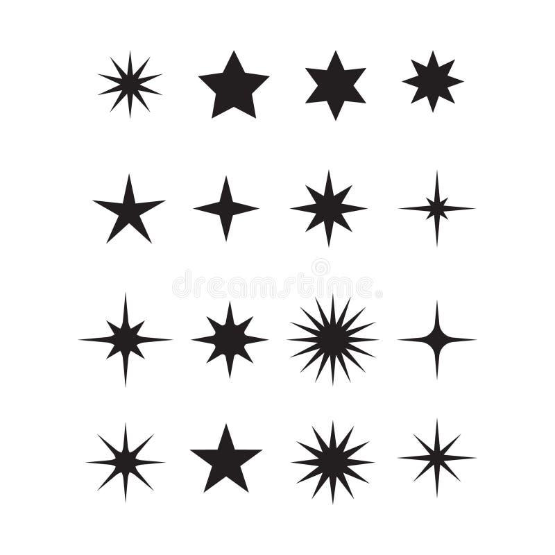 Σύνολο διανυσματικών αστεριών εικονιδίων, διακριτικά ηλιοφάνειας Γραφικός, λάμψτε, διακόσμηση, ηλιοφάνεια, ακτινοβολεί σύμβολο απεικόνιση αποθεμάτων