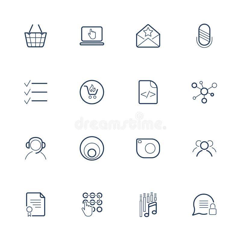 Σύνολο 16 διανυσματικών εικονιδίων για το λογισμικό, την εφαρμογή ή τους ιστοχώρους - κοινωνικές μέσα και τεχνολογία ελεύθερη απεικόνιση δικαιώματος