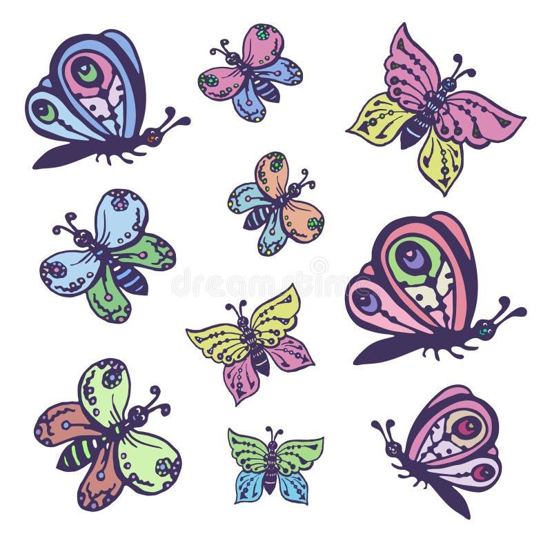 Σύνολο διανυσματικών εικόνων των όμορφων πεταλούδων διακοσμητικών απεικόνιση αποθεμάτων